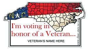 Current design of the Vote in Honor of a Veteran pin
