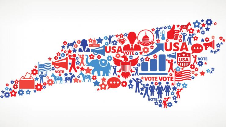 Voting-themed word cloud in the shape of North Carolina state.