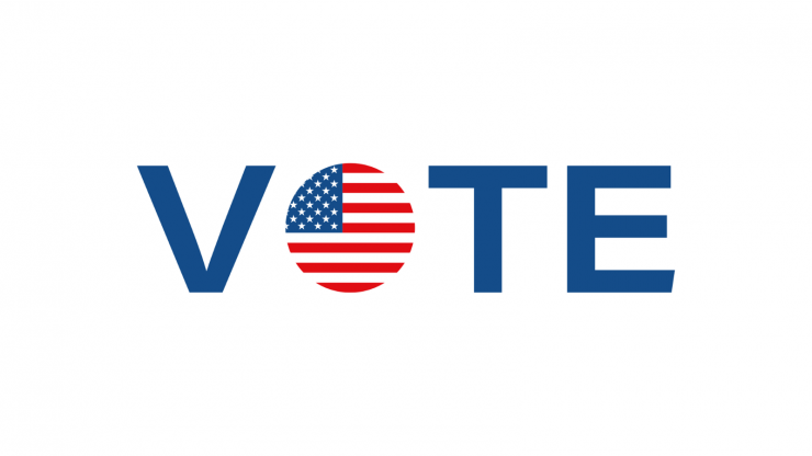"""Graphic of the word """"Vote"""" with an American flag inside of the 'o.'"""