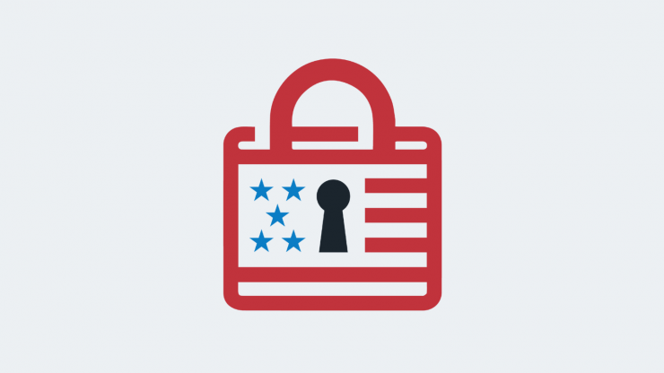 Padlock graphic integrated with American flag stars and stripes