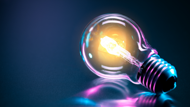 A light bulb, which symbolizes shining light onto a topic or providing information