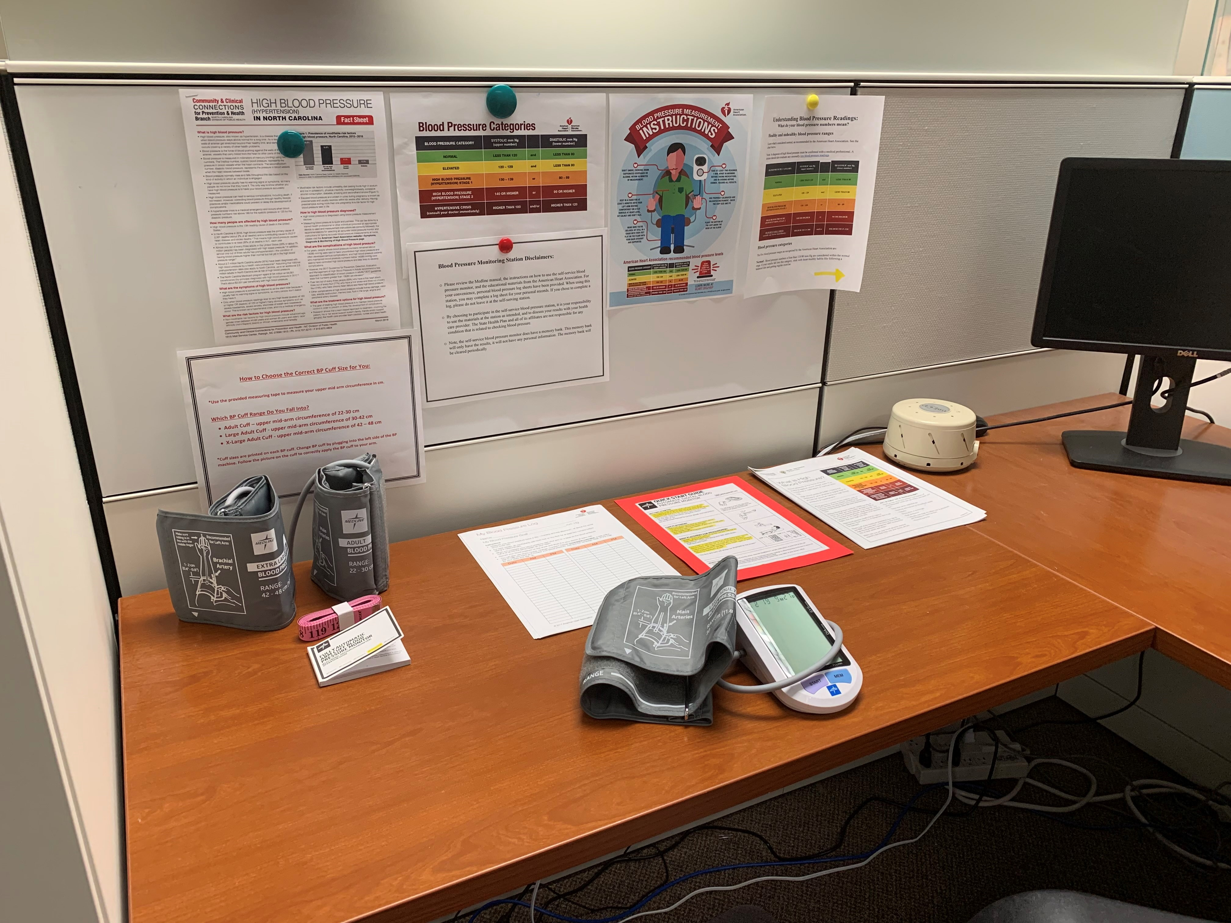 Blood pressure station at office