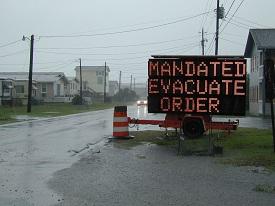 mandated evacuation order sign