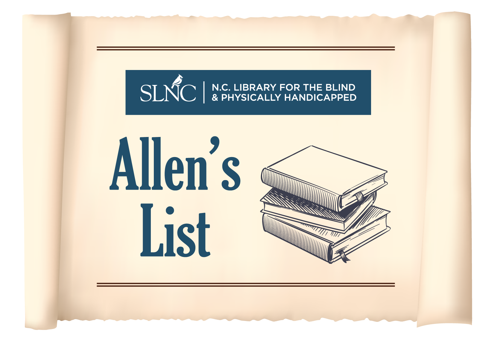 A stack of books with the words Allen's List next to them