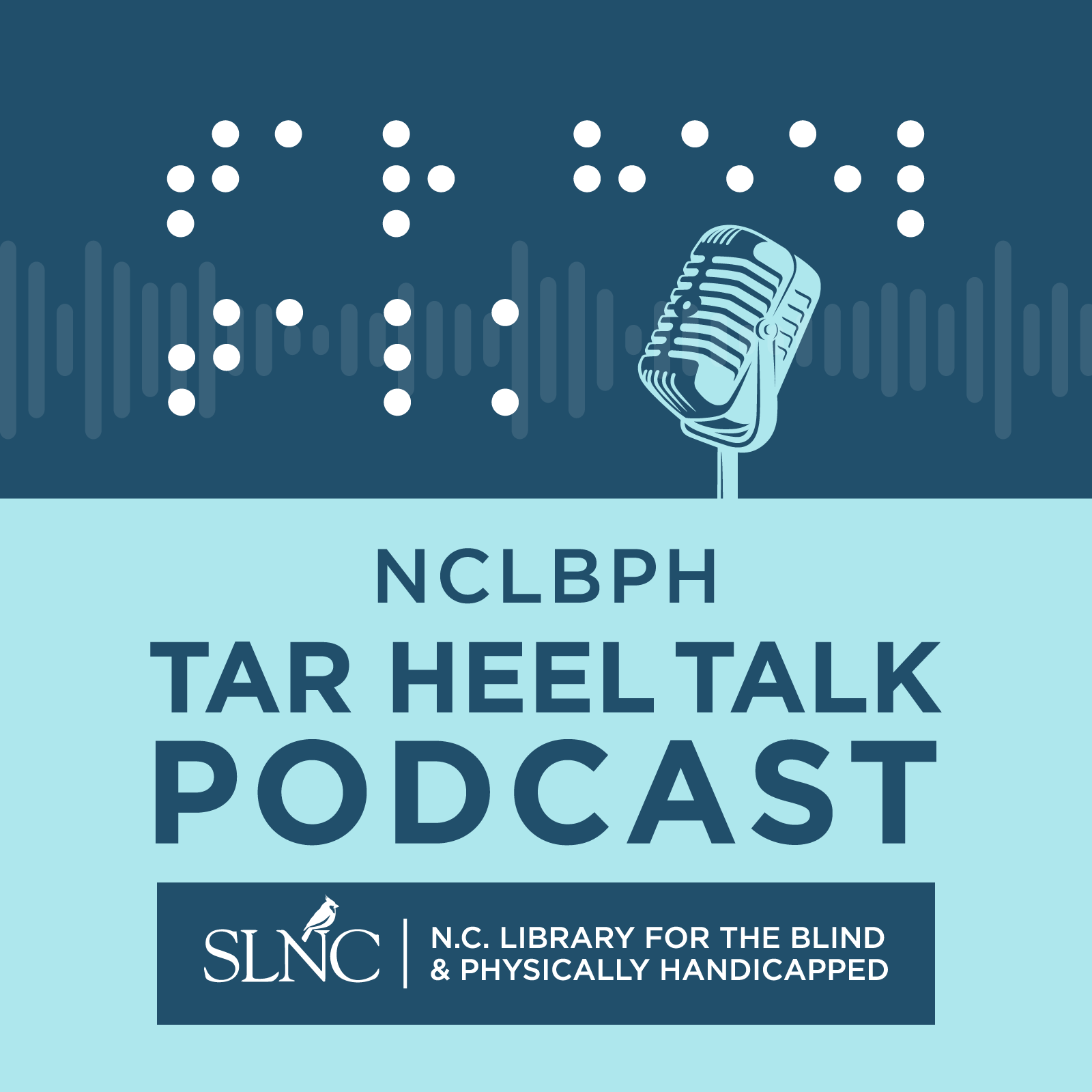 A microphone with the letters nclbph spelled out in braille, sits a top the words NCLBPH Tar Heel Talk Podcast and the State Library of North Carolina banner icon