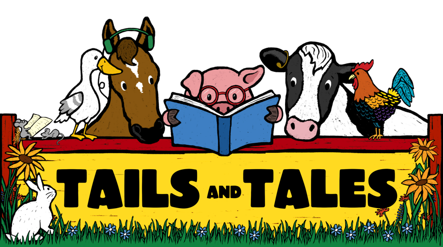 Different farm animals gather around a pig reading a book.