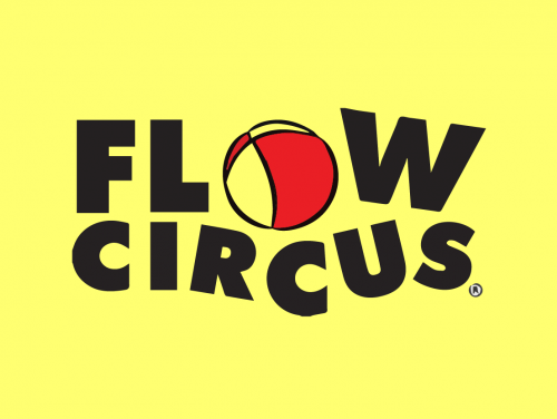 Yellow background with black text that says Flow Circus. Illustration of a ball.