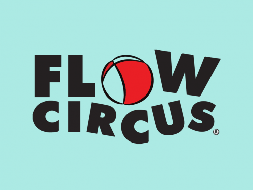 Light blue background with black text that says Flow Circus - the o is a red ball.