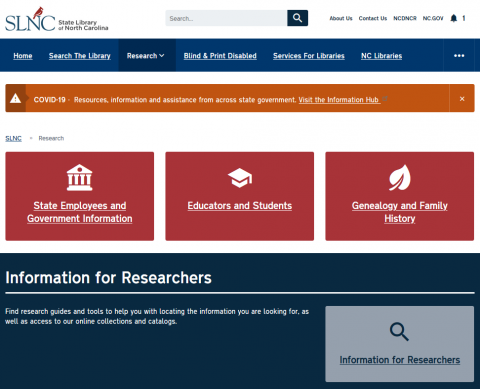 Screen shot of the Research page on the State Library website