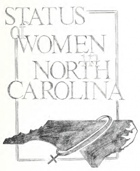:  featuring a silhouette of the state of North Carolina with the female symbol wrapped around it