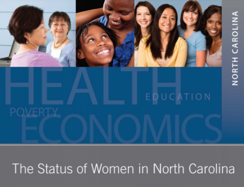featuring a word cloud with the words health, economics, poverty, and education written in various sizes. The top of the document has three pictures: two middle age women facing each other, a mother and daughter smiling at each other, and a group of four women smiling and facing the viewer.