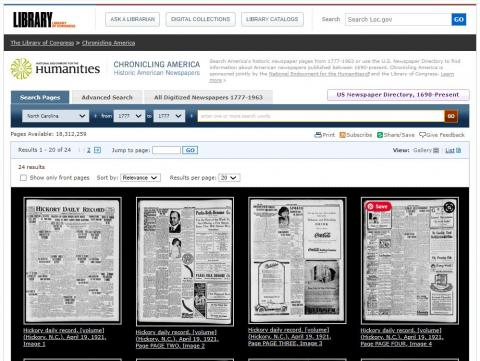 Screenshot shows a search bar at the top of the page. Below are images of front pages of four digitized newspapers from 100 years ago today.
