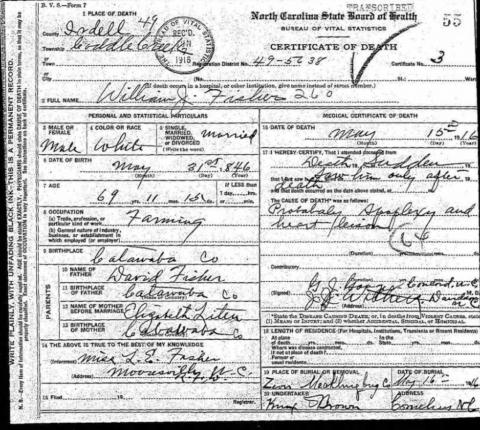Early North Carolina death certificate from 1916.