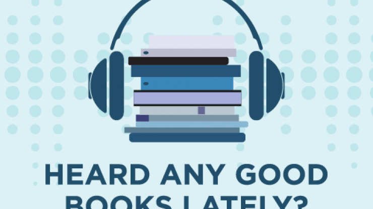 A pile of books with a pair of headphones worn like they are on the head. At the bottom are the words heard any good books lately?