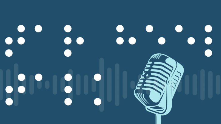 A microphone on a dark blue background with NCLBPH spelled out in braille