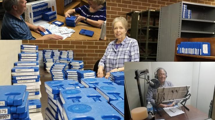 Volunteers inspect books, sort books and record local audio in the library's studio