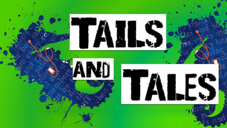 Seahorses are listening to audiobooks. The text says Tails & Tales