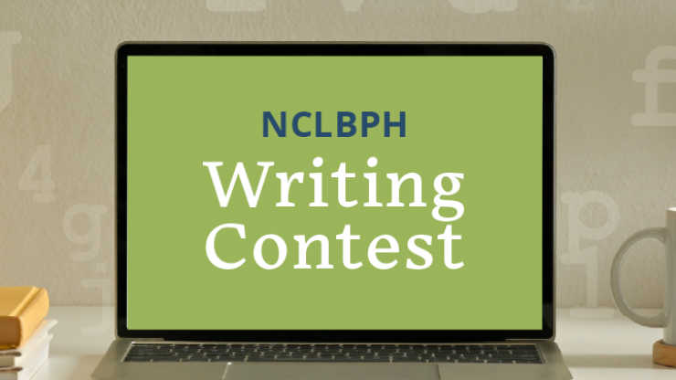 Open laptop with writing contest on screen.