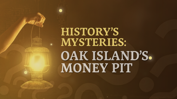 Arm holding up an oil lamp and graphic text saying History's Mysteries
