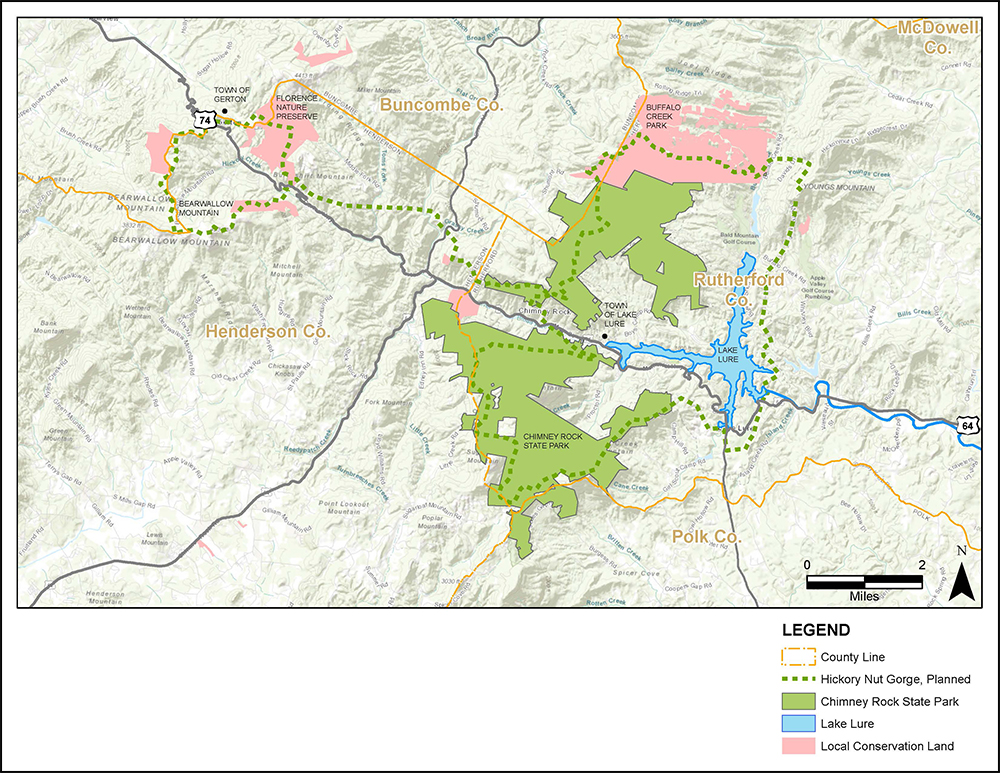 Planning map for Hickory Nut Gorge State Trail