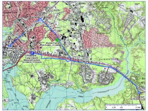 Map of LeJeune Trail and Greenway