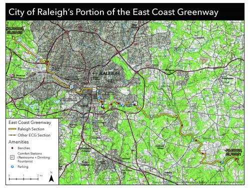 Map of East Coast Greenway Trails in Raleigh