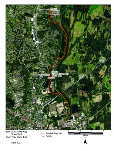 Map of the Cape Fear River Trail in Fayetteville