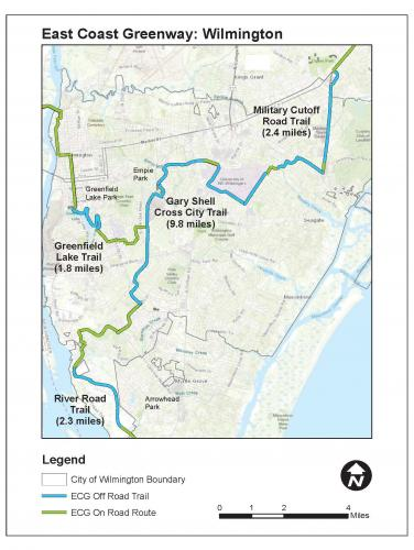 Map of East Coast Greenway Trails in Wilmington
