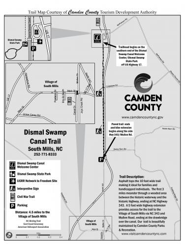 Map of the Dismal Swamp Canal Trail in South Mills