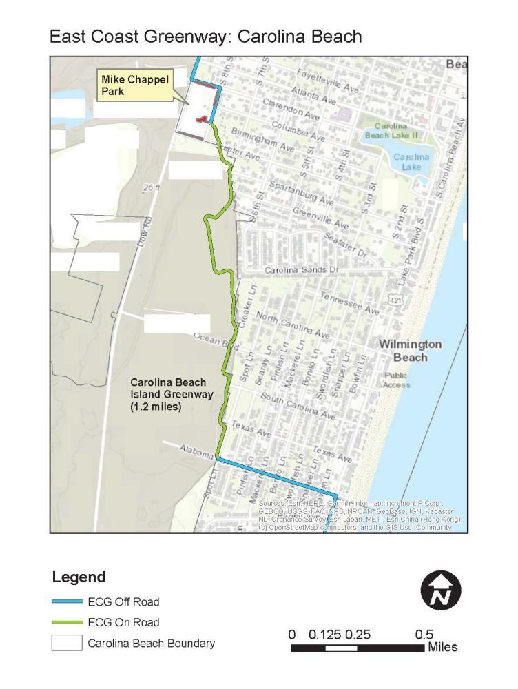 Map of Carolina Beach Island Greenway in Carolina Beach