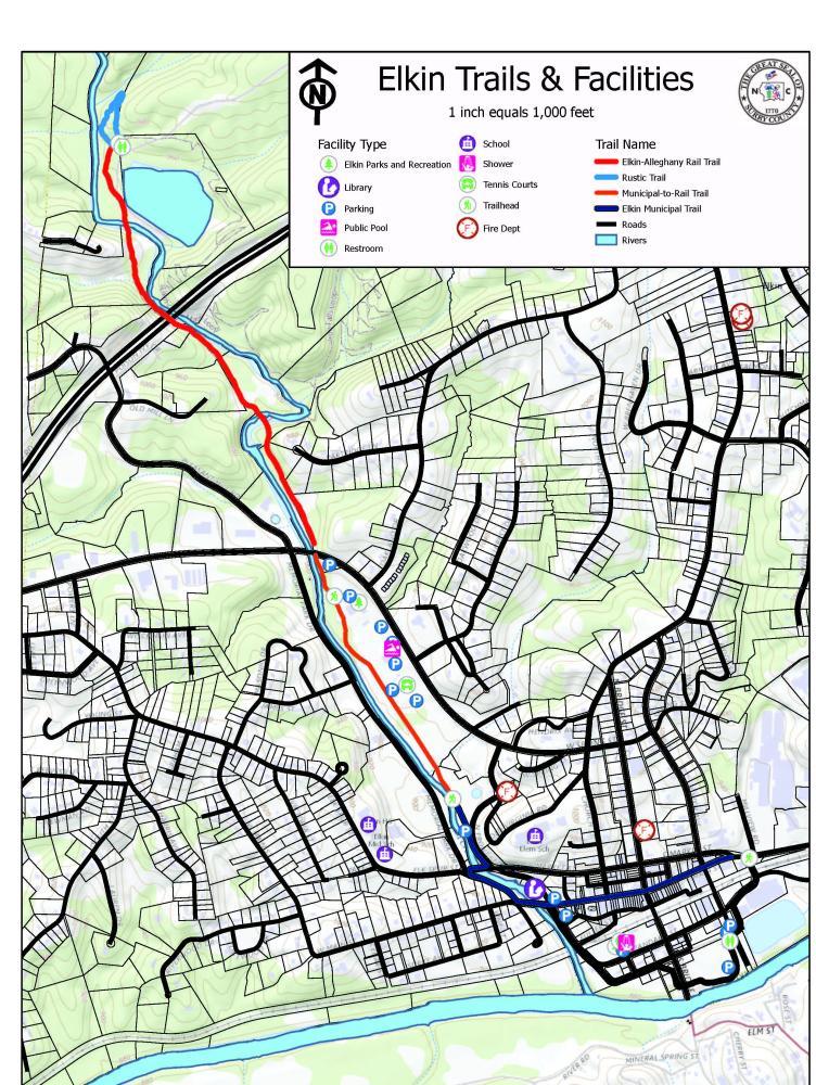Map of Elkin trails